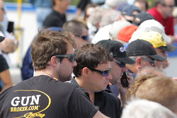 Nascar Camping World Series driver Jason White and crew members