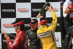 Champagne celebration on the podium