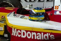 The winning car and winning helmet