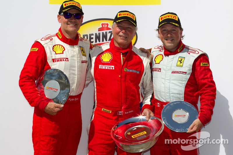 F430 podium: class winner Rob Metka, second place Ryan Ockey, third place Guy Leclerc