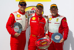 F430 podium: class winner Rob Metka, second place Ryan Ockey, third place Guy Leclerc