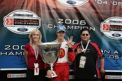 Champ Car World Series 2006 champion Sébastien Bourdais celebrates his third consecutive title