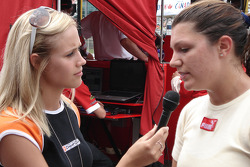Katherine Legge gives an interview after retiring