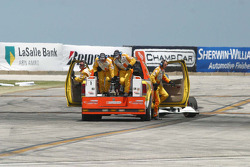 The Champ Car safety team arrives to help Bruno Junqueira