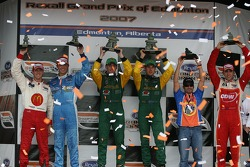 Canadian Triple Crown podium: winning team Will Power and Simon Pagenaud, with second place team Sébastien Bourdais and Graham Rahal of Newman/Haas/Lanigan Racing, and third place team Alex Tagliani and Justin Wilson of RSPORT
