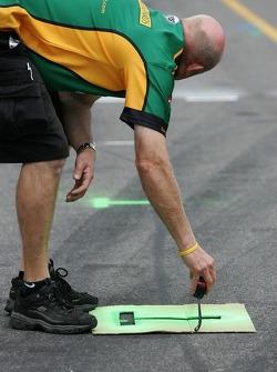 Team Australia crew member prepares pitlane
