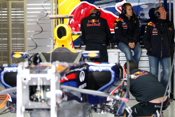 Sebastian Vettel, Red Bull Racing watches free practice 2 on tv, after crashing in free practice 1