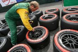 Team Australia team member prepares the slick and rain tires