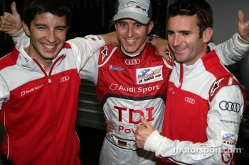 LMP1 and overall pole winner Timo Bernhard celebrates with Mike Rockenfeller and Romain Dumas