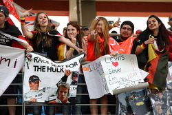 A banner in the crowd for Nico Hulkenberg, Force India F1 Team, Test Driver, Lewis Hamilton, McLaren Mercedes
