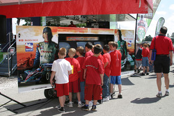 Young fans enjoy a video game display