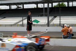 2005 Indiana Mr. Basketball Luke Zeller of Washington waves the green flag to start practice at the Indianapolis motor Speedway