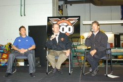 Roger Yasukawa, left, IMS Radio Network Anchor Mike King, center, and Robbie Buhl
