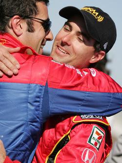 Pole winner Bryan Herta celebrates with Dario Franchitti