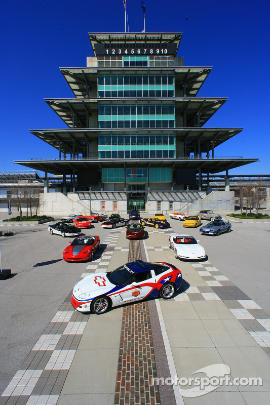 The 2006 Chevrolet Corvette Z06 leads a group of every Chevrolet vehicle to pace the Indianapolis 500 in front of the Bombardier Pagoda