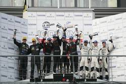 LMP2 podium: class winners Mathias Beche,Pierre Thiriet and Jody Firth, second place Dominik Kraihamer, Nicolas De Crem, third place Nick Leventis, Danny Watts and Jonny Kane