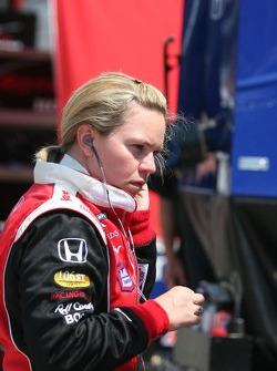 Sarah Fisher prepares to practice