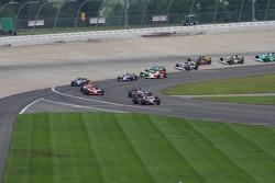 Dario Franchitti leads the field onto pitroad