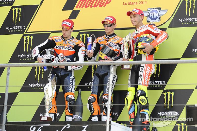 2011: 1. Casey Stoner, 2. Andrea Dovizioso, 3. Valentino Rossi
