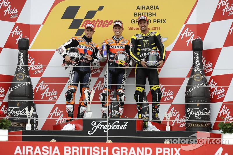 2011: 1. Casey Stoner, 2. Andrea Dovizioso, 3. Colin Edwards