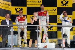 Podium: race winner Martin Tomczyk, Audi Sport Team Phoenix, second place Timo Scheider, Audi Sport Team Abt, third place Bruno Spengler, Team HWA AMG Mercedes