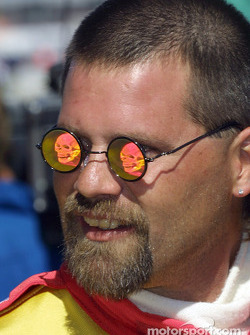 Sam Schmidt crew member  and his scary sunglasses