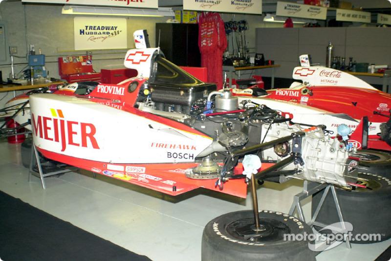 Inside the Treadway garage, Luyendyk's car