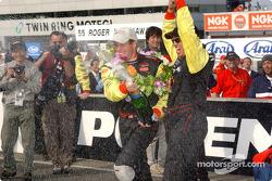 Champagne for race winner Scott Sharp