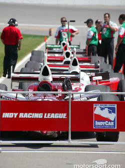 IndyCars lined up before the start of the qualifying session