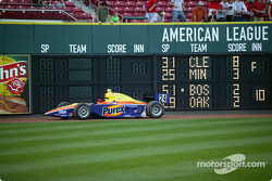 Visit at a Cincinnati Reds baseball game: Robbie Buhl drives the Dreyer & Reinbold car onto the field