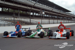 The front row: pole winner Helio Castroneves with Tony Kanaan and Robby Gordon