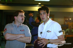 Sam Hornish Jr. at PBA Pro-Am in Indianapolis: PBA bowler Mike Aulby and IndyCar Series driver Sam Hornish Jr.