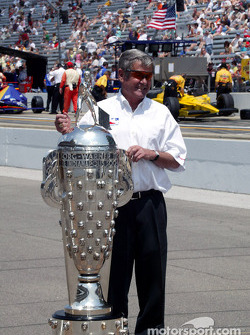 Four-time Indy 500 winner Al Unser Sr. with the Borg-Warner Trophy