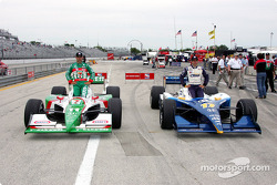 First row for the Menards A.J. Foyt Indy 225: pole winner Vitor Meira with Tony Kanaan