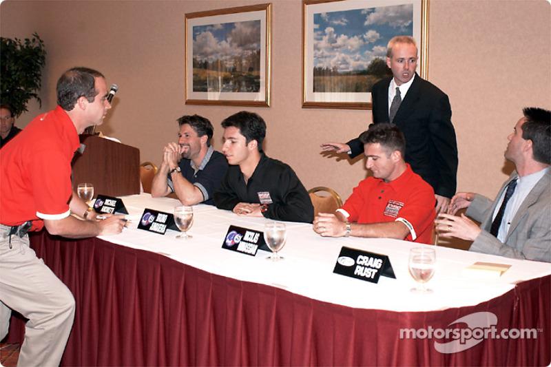 Michael Andretti, Bruno Junqueira, Nicolas Minassian before press conference