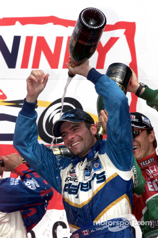 The podium: Alex Tagliani and Adrian Fernandez having fun