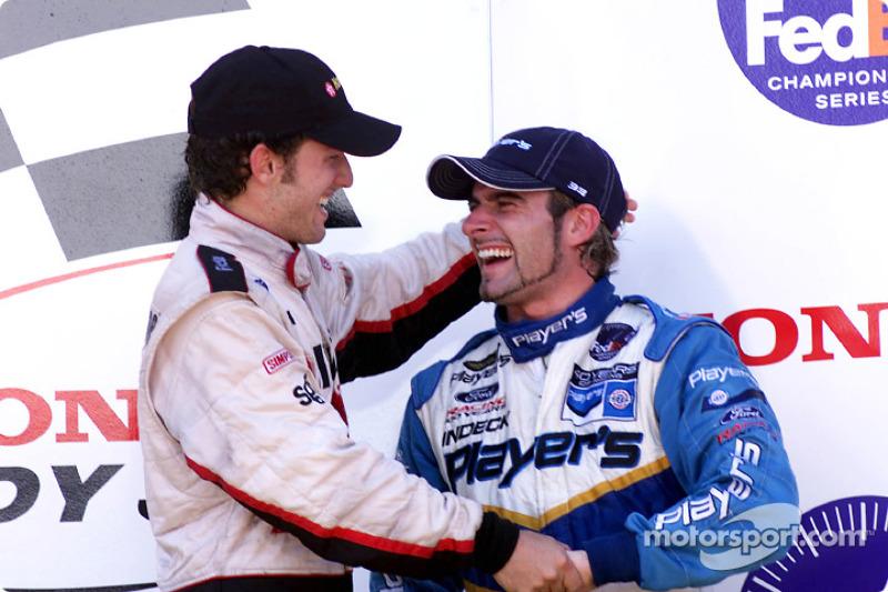 Cristiano da Matta and Alex Tagliani on the podium