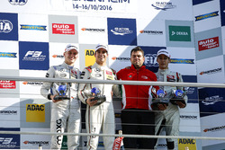 Champion Podium: Champion Lance Stroll, Prema Powerteam Dallara F312 - Mercedes-Benz; second place Maximilian Günther, Prema Powerteam Dallara F312 - Mercedes-Benz; third place George Russell, HitechGP Dallara F312 - Mercedes-Benz; Best team Rene Rosin, Prema Powerteam