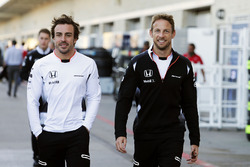 (L to R): Fernando Alonso, McLaren with team mate Jenson Button, McLaren