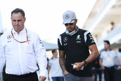 (L to R): Ron Meadows, Mercedes GP Team Manager with Lewis Hamilton, Mercedes AMG F1