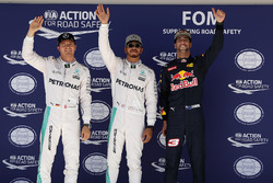 Qualifying top three in parc ferme (L to R): Nico Rosberg, Mercedes AMG F1, second; Lewis Hamilton, Mercedes AMG F1, pole position; Daniel Ricciardo, Red Bull Racing, third