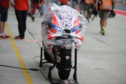 Bike of Andrea Dovizioso, Ducati Team with rain cover