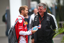 (L to R): Sebastian Vettel, Ferrari with Otmar Szafnauer, Sahara Force India F1 Chief Operating Officer