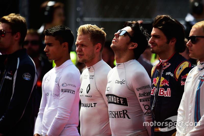 Sergio Perez, Sahara Force India F1 durante el himno