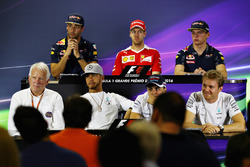 Даніель Ріккардо, Red Bull Racing; Себастьян Феттель, Ferrari; Макс Ферстаппен, Red Bull Racing; Чарлі Вайтінг, делегат FIA; Льюіс Хемілтон, Mercedes AMG F1; Феліпе Масса, Williams; Ніко Росберг, Mercedes AMG F1