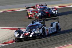 #2 Porsche Team, Porsche 919 Hybrid: Romain Dumas, Neel Jani, Marc Lieb; #8 Audi Sport Team Joest, Audi R18: Lucas di Grassi, Loic Duval, Oliver Jarvis