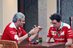 Maurizio Arrivabene, Ferrari Team Principal with Mattia Binotto, Ferrari Chief Technical Officer
