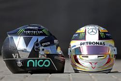 Les casques de Nico Rosberg, Mercedes AMG F1, Lewis Hamilton, Mercedes AMG F1
