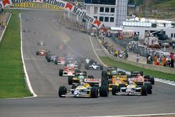 Start: Nelson Piquet, Williams FW11B Honda; Nigel Mansell, Williams FW11B Honda; Ayrton Senna, Lotus 99T Honda