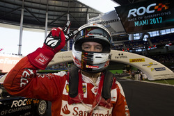 Sebastian Vettel, celebrates his win for Team Germany